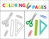 Coloring book page. Back to school set, scissors, ruler, paperclips. Sketch outline and color version. Coloring for kids. Childrens education. Vector illustration.