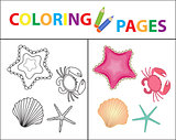 Coloring book page. Sea set, star, shell, crab, pearl. Sketch outline and color version. Coloring for kids. Childrens education. Vector illustration.