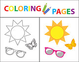 Coloring book page. Summer set, glasses, sun, butterfly. Sketch outline and color version. Coloring for kids. Childrens education. Vector illustration.