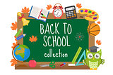 Back to school board frame for text. Isolated on white background. Vector illustration.