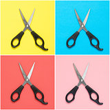 Collage of scissors on colorful background