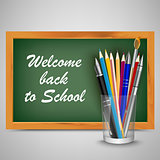 Back to school with green board and supplies template