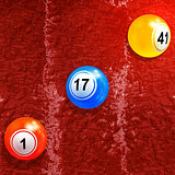 Bingo lottery balls over textured paint background