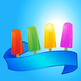 Ice lollies and banner over summer blue sky