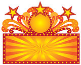 Retro Marquee Sign with Sunrays Stars Illustration