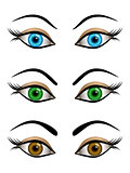 Set of cartoon female eyes blue, brown and green colors
