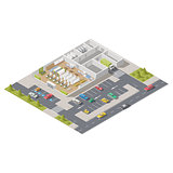 Element infographics representing a supermarket in section with parking located on a street