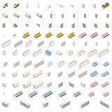 Equipment for grocery supermarket isometric icon set