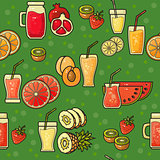 Vector seamless pattern of hand drawn colorful fruit juice  icon