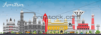 Amritsar Skyline with Gray Buildings and Blue Sky.