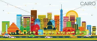 Cairo Skyline with Color Buildings and Blue Sky.