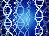 DNA structure on abstract blue background