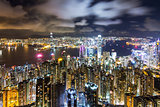 Hong Kong Skyline at Night, View from The Peak