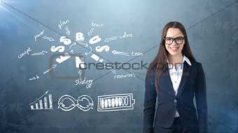 Smiling beautiful businesswoman in glasses close up portrait, drawing business concept background