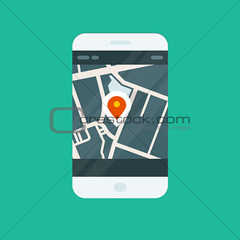 City navigation smartphone app - location on map