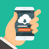 Cloud computing download app on smartphone with progress bar
