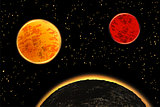Exoplanets or extrasolar planets. Vector illustration.