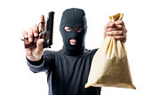 criminal with a bag of money was arrested, a robber understands