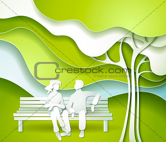Green tree and family.