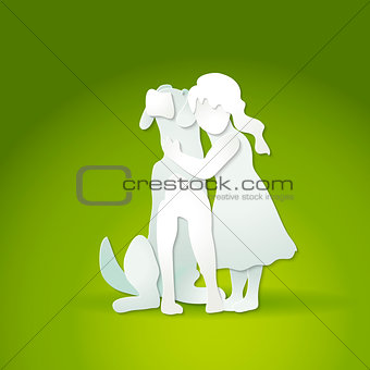 Small girl hugging big dog