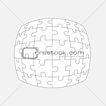 Six jigsaw puzzle parts, blank vector 6x5 pieces