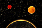 Exoplanets or extrasolar planets.  illustration.