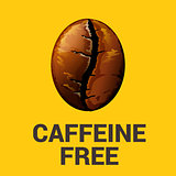Caffeine free sign with coffee bean vector illustration