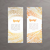 Set of vector design templates. Business card with floral circle ornament.