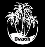 Palm tree and waves of a night beach. vector illustration