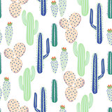 Various cacti desert vector seamless pattern. Abstract thorny plants nature fabric print.