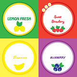 The stickers with fruits