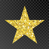 Gold glitter vector star. Golden sparcle star on black transparent background. Amber particles.