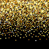 Falling golden particles on a black background. Scattered golden confetti. Rich luxury fashion backdrop. Bright shining gold. Gold round dots.