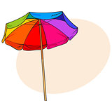 Rainbow colored, open beach umbrella, sketch style vector illustration