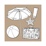 Summer time vacation attributes - umbrella, suitcase, sunscreen and ball