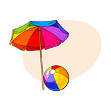 Rainbow colored, open beach umbrella and inflated ball