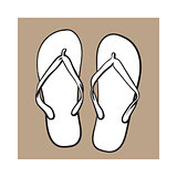 Pair of flip flops, summer time vacation attribute, slippers, shoes