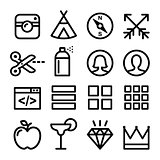 Web line icons, Website navigation flat design icon collection - users, blog, store