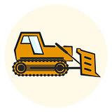 Colorful outline earth mover icon