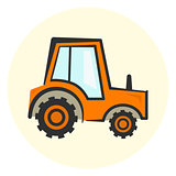 Cute cartoon colorful tractor icon