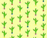 Cute cartoon seamless cactus pattern