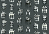 Cute outline white gift boxes pattern