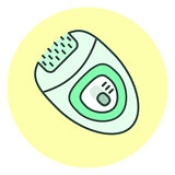 Outline epilator icon, hair removal unit