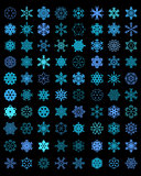 different blue snowflakes