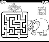 maze with elephant coloring page