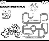 maze with bike for coloring