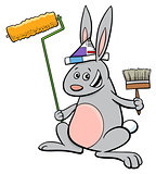 rabbit painter cartoon character