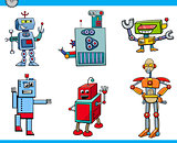 robot cartoon characters set