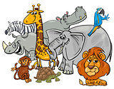 cartoon safari animal characters group