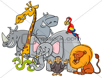 cartoon safari animals group